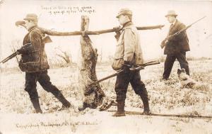 D52/ Hunting Rifle Postcard RPPC Kansas City Exaggeration Rabbit RPO Mack&Rich 3