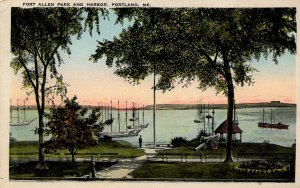 Portland, Maine - Boats at Fort Allen Park and the Harbor - c1920
