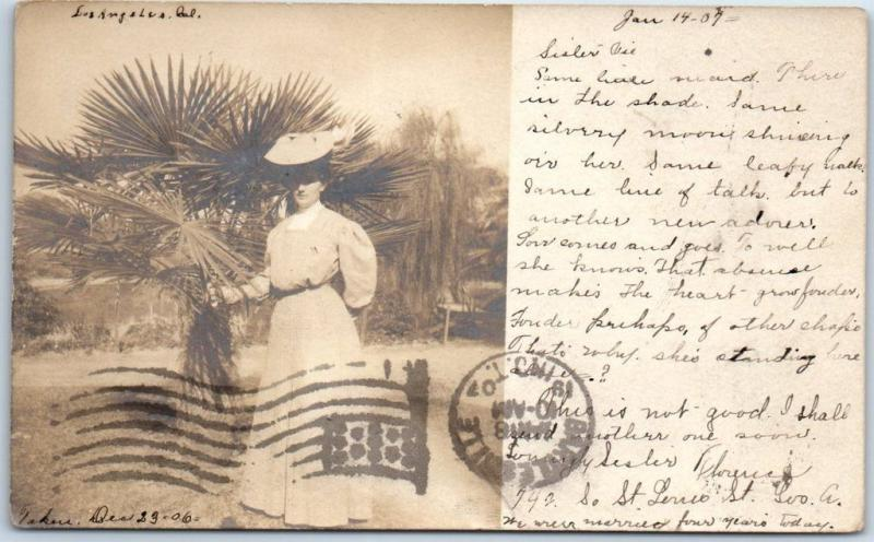 1906 Los Angeles CA RPPC Photo Postcard Lady Palm Tree w/ OK Indian Terr. Cancel