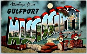 1940s Gulfport, MISSISSIPPI Large Letter Postcard Black Men Banjos / KROPP Linen