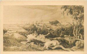 James Ward Bulls Fighting St. Donat`s Castlein the distance postcard