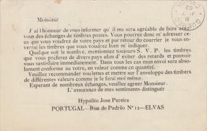 ELVAS, Portalegre, Portugal; Letter from Hypolito Jose Pereira, PU-1902