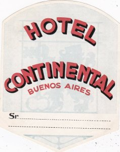 Argentina Buenos Aires Hotel Continental Vintage Luggage Label sk4060