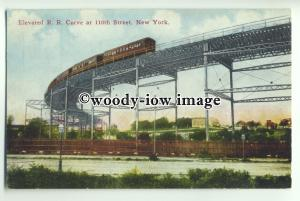 ft1362 - USA - New York - Elevated Railroad Curve at 110th Street - postcard