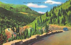 Vintage Linen c1930-45 USA Postcard Trail Ridge Road to Grand Lake Colorado 37Z