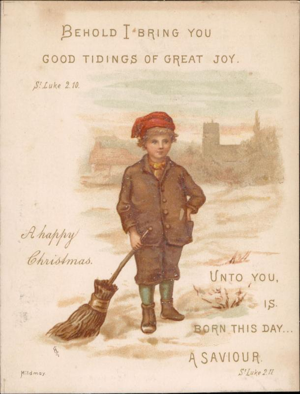 collectible greeting christmas sweep boy bible verse vintage old chromo litho