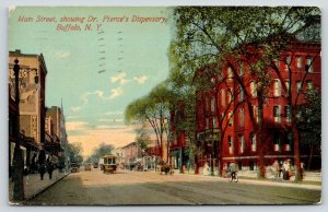 Buffalo New York~Main Street~Dr Pierce's Dispensary~Bicycle Store~Trolley~1911