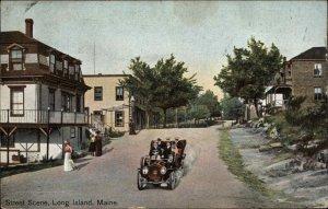 Long Island ME Casco Bay - Street Scene 1908 Peak Island Fancy Cancel Postcard