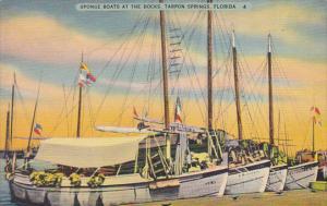 Florida Tarpon Springs Sponge Boats At The Dock 1940