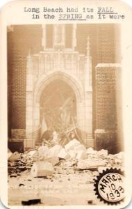 Long Beach California Church Ruins Stamp Club Ad Real Photo Postcard JE228302