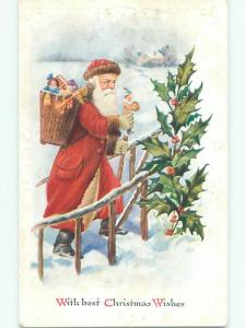 Pre-Linen christmas LONG ROBE SANTA CLAUS WALKING UP THE STEPS W7188