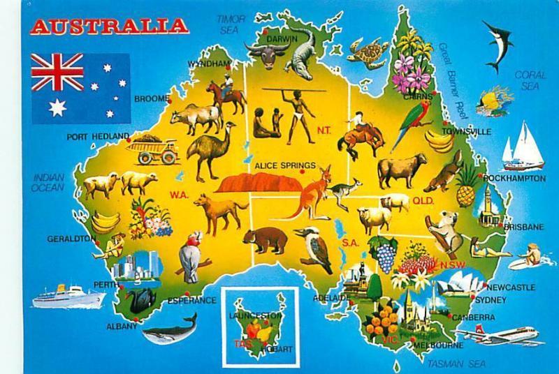 Postcard australia greetings map ostriches kangaroos crocodile postcard australia greetings map ostriches kangaroos crocodile 3420a m4hsunfo