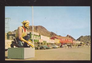 BOULDER CITY NEVADA DOWNTOWN MAIN STREET SCENE 1950's CARS VINTAGE POSTCARD