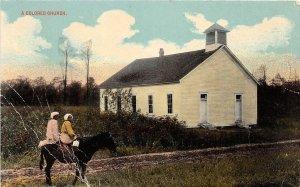 G22/ Black Americana Postcard Comic c1910 Colored Church Horse Girls 8