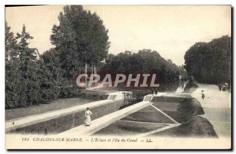 Old Postcard Chalons sur Marne and the Lock Canal Island