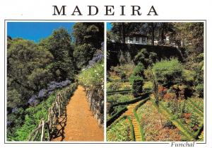 Portugal Madeira Funchal Two vies of the beautiful garden THe Monte Church