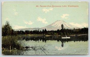 Mt Tacoma Washington~View from Spanaway Lake~Rowboating~c1910 Postcard