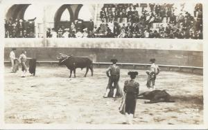 Bull Fight, Mexico, early real photo postcard, unused
