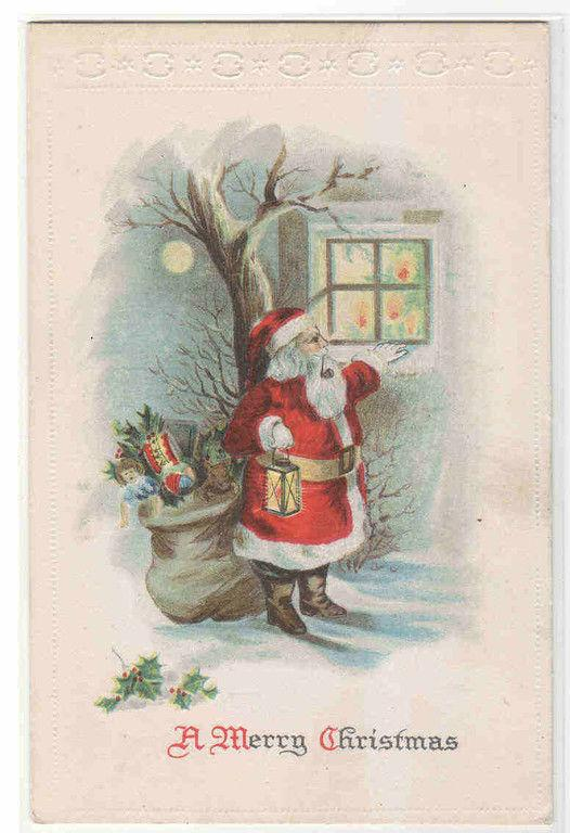 Santa Pipe Lamp Gift Bag Window Merry Christmas 1910c postcard