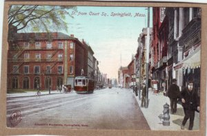 P1355 1908 postcard used horse wagon bike trollies people etc springfield mass
