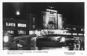 New York NY LaGuardia Airport Main Entrance at Night #52 RPPC