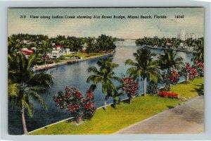 Miami FL-Florida, Aerial View Indian Creek and 21st St. Bridge, Linen Postcard