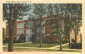 Silver Creek New York~High School~Shade Trees 1940s PC