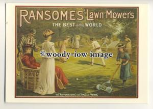 ad0412 - Ransomes Lawn Mowers- Girl Mowing Tennis Court - Modern Advert Postcard