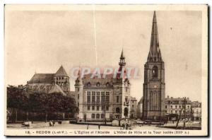 Old Postcard Redon The Church and I Apse The City Hotel and Tower Isolee