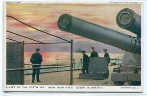 Gun Turret HMS Queen Elizabeth British Battleship Sunset North Sea postcard