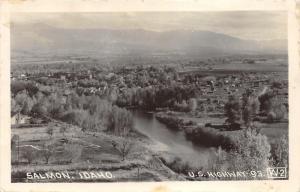 Salmon Idaho~US Highway 93 Bird's Eye View~1940 RPPC Postcard