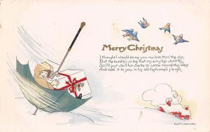 Christmas Fantasy~Lil Girl & Gift Ride in Green Umbrella~Edith Truman Woolf