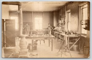 Real Photo Postcard~Tool Room Workmen~Grinding Wheel~Pot Belly Stove~c1910 RPPC