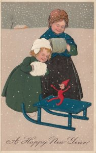 NEW YEAR, 1900-10s; Girls with hand muffs in snowfall, doll on sled, PFB 6211