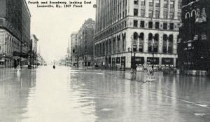 KY - Louisville. 1937 Flood. Fourth & Broadway