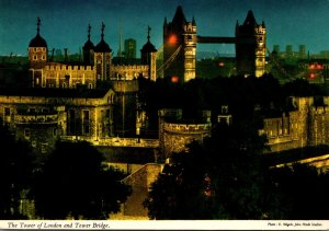 England London Tower Of London and Tower Bridge By Night
