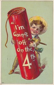 Boy & Giant Firecracker , I'm going off on the 4th . 1910