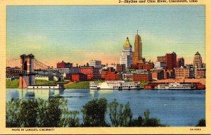 Ohio Cincinnati Skyline and Ohio River Curteich