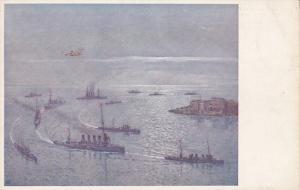Otranto , Lecce (Apulia, Italy)  ; Naval Fleet entering harbor 1917