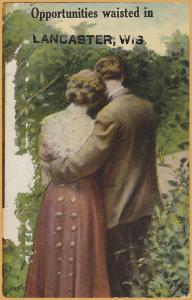 Opportunities are waisted in Lancaster, WIS., Man's arm around ladies waist-1912