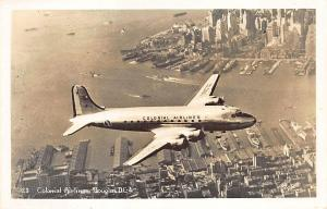 New York NY Colonial Douglas DC-4 In Flight Over NY City RPPC