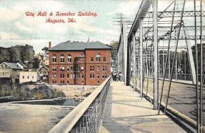 Augusta Maine City Hall Kennebec Bldg Antique Postcard K103890