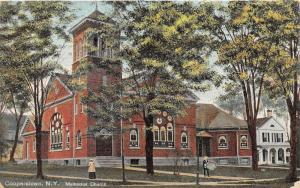 Cooperstown New York~Methodist Church~Lady & Man on Sidewalks~c1910 Postcard