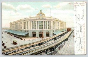 Boston Massachusetts~South Station~Elevated Train Tracks over Street~1906