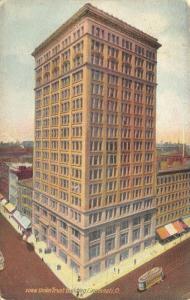 Cincinnati Ohio~Union Trust Building~Bank Corner~Store Awnings~Trolley~1908 PC