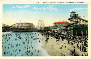 CA - Long Beach. The Cyclone Racer Roller Coaster and Beach