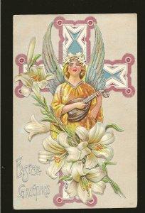 Easter Greetings 381 Embossed Color Postcard Postmarked Lowbanks Ont 1910