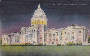 Arkansas Little Rock Night View Of State Capitol 1945