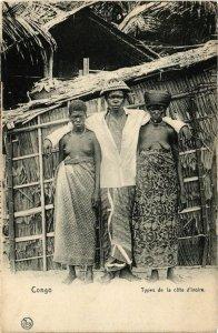 PC CPA ETHNIC NUDE FEMALE CONGO IVORY COAST TYPE AFRICA Vintage Postcard (b571)