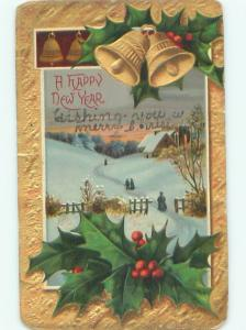 Divided-Back NEW YEAR SCENE Great Postcard AA2047